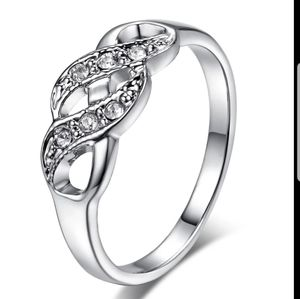 New womens ring 18k white gold tone white Crystal